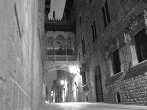 Walk through the night streets of Barcelona. The picture was taken at night on one of the many streets of Barcelona. Walk the streets at night in Barcelona is a Royalty Free Stock Photos