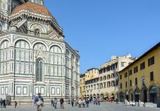 Walk through the old and narrow streets of Florence near the Cathedral of Santa Maria del Fiore. City center. Italy stock photo