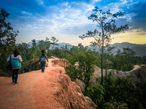 The walk at Pai Canyon in Maehongson Thailand Stock Photos
