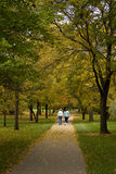 Women walking on path in autumn Royalty Free Stock Photo
