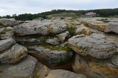 Stone Grave near modern Melitopol. Ukraine. Walk in the park.Beautiful day stock photos