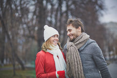Walk in park. Cheerful dates having walk in park Royalty Free Stock Photos