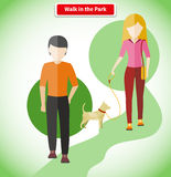 Walk in the Park with Dog Concept Royalty Free Stock Photo
