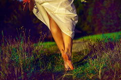 Walk in the park girl. Woman in long  dress walking  in the green field in summer Stock Photography