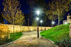 Walk in the park. Path in the park in part of city called Gornji Grad in Zagreb near Strossmayer promenade. Shot taken during night time at winter Royalty Free Stock Images