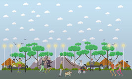 Walk in the park vector illustration in flat style Stock Images