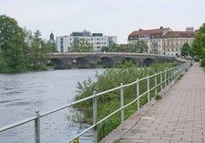 Walk path by Atran river Stock Photography