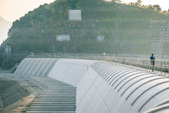 Walk path on a Dam of reservoir Stock Image
