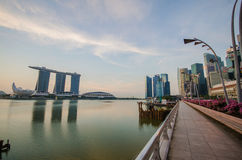 Walk path with Singapore city building background Royalty Free Stock Image