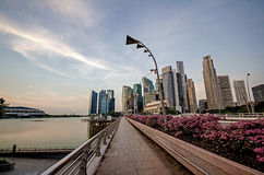 Walk path with Singapore city building background Stock Photography