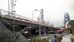 Walk path with Singapore city building background Stock Images