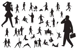 Free Walk People Silhouette. Black Figures Of Happy Children Woman Young Lady Working Man, Walking Person Vector Isolated Set Royalty Free Stock Photography - 146076527