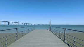 Walk on the Pier Near the Vasco da Gama Bridge. In Lisbon, Portugal stock video