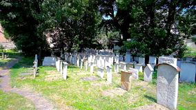Old Jewish Cemetery in Krakow, Poland. Walk among preserved historic gravestones of Old Jewish Remuh, Remah Cemetery, located adjacent to Remuh Synagogue in stock footage