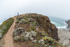A walk on a promontory above the coastline Stock Images