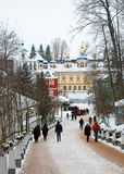 Walk on Pskovo- Pechersky Monastery in winter Stock Photography
