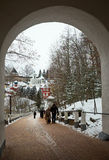 Walk on Pskovo- Pechersky Monastery in winter Royalty Free Stock Photos