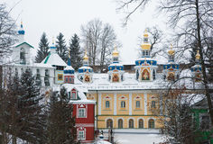 Walk on Pskovo- Pechersky Monastery in winter Royalty Free Stock Photo