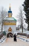 Walk on Pskovo- Pechersky Monastery in winter, Peter Tower Royalty Free Stock Photos
