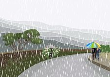 Walk in the rain. A couple is having a walk in the rain. In the background – landscape with brick walls, flowers and plants, trees, bushes and mountains Stock Images