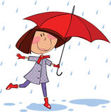 Walk in the rain. Little girl with red umbrella walking in the rain vector illustration