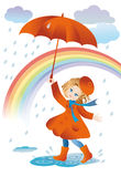 Walk in the rain. A girl with a red umbrella goes for a walk in the rain Royalty Free Stock Images