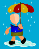A walk in the rain. Abstract male character holding an umbrella and walking in the rain Stock Photos