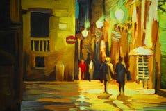 Walk in the rain in barcelona gothic quarter, painting, illustra. Walk in the rain in barcelona gothic quarter, painting Stock Photography