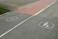 Walk or Ride?. A separate lane between bicycling and walking Stock Photos