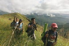 Walk through ridges. Walking through the meadows of kapayawan mountain ridge of bukidnon, philippines. The landscape is extremely exquisitely beautiful Stock Images