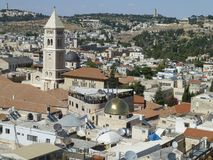 Walk through the rooftops in Jerusalem stock photo
