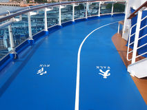 Walk and run signs. Sign for run and walk tracks on the deck of cruise ship Royalty Free Stock Photography