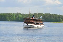Walk on the Saimaa lake by old steamship `Paul Wahl` royalty free stock photo