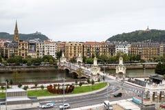 Walk through San Sebastian or Donostia in the Basque country in Spain. San Sebastian is a coastal city royalty free stock images