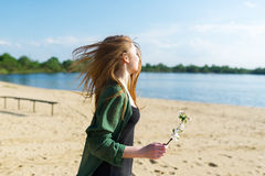 Walk on the sandy beach. royalty free stock photography