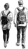 Walk of the school students. Vector image of the walking teenagers Royalty Free Stock Photos