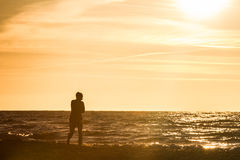 Walk by the sea. Person walking along the seashore Stock Images