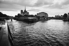 Black and white art monochrome photography. A beautiful European city. Euro-trip. Walk on the ship on the river Seine in Paris. Black and white art monochrome Stock Images
