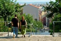 Walk or shopping ?. On the top of lyon (France Stock Image