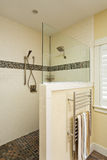 Walk in shower of an upscale home stock photos