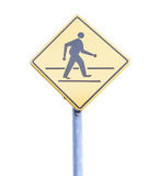 Walk sign pole. On the white background Royalty Free Stock Photography