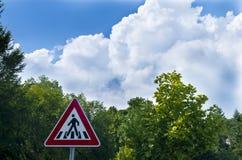 Walk signal. Pedestrian walk signal on clouds Stock Image