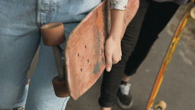 Walk with Skateboards stock video
