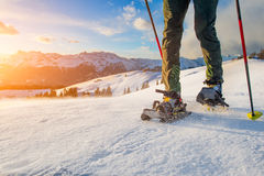 Walk with snowshoes Stock Image