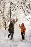 Walk in snowy forest Royalty Free Stock Photography