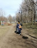 walk in the  Park with a child royalty free stock images