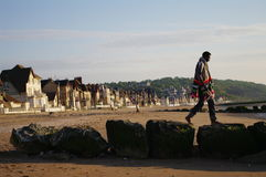 Walk on stones jetty in normandy royalty free stock photo