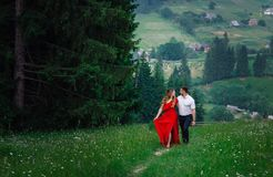 Walk of the stylish elegant hugging loving couple along the path in the blooming meadow in the green mountains. stock image
