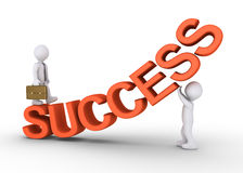 Walk the success path with help. Businessman is walking on rising success letters with the help of a person Stock Photography