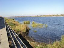 walk on a summer day along the Dnipro embankment royalty free stock photography